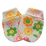 Bio Baumwolle Neugeborene Baby Anti Kratz Fäustlinge Handschuhe Mehrfarbig Sommerblumen und Bienen (0-3 Monate)