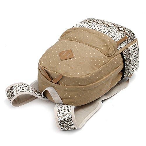 OURBAG Segeltuch Rucksack Schulter Beutel Mappe 3PCS stellte für Frauen ein Hellblau Khaki