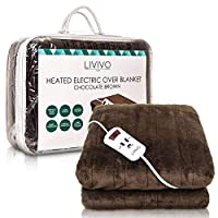 LIVIVO Heated Electric Over Blanket - Soft Chocolate Micro Fleece Throw with 10 Heat Settings and Timer Function - 160x120cm - Easy to Use Detachable Digital Control - Machine Washable (Chocolate)