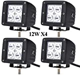 Leetop 4X 12W LED Lampe Scheinwerfer kaltweiß Rücklicht für KFZ Arbeitsscheinwerfer wasserfest IP67 12V 24V