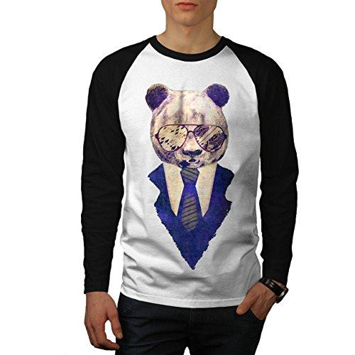 Empresario Panda Inteligente Oso Men M Baseball LS T-shirt | Wellcoda (Jersey Panda Baseball)