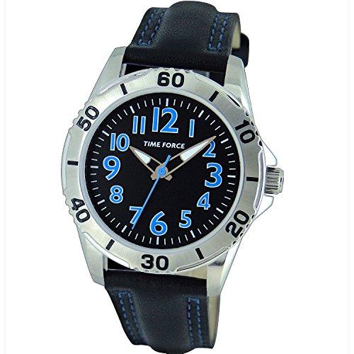 Time Force TF-4137B01 - Reloj analógico para Chico. Correa de Piel de vaca color Negro.