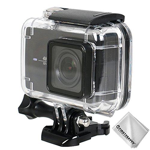 First2savvv Immersioni caso alloggiamento impermeabile sott\'acqua 30m subacquea con vetro lente Xiaomi Yi 4K+ .Yi Discovery .Yi Lite .Yi 4K Plus .4K action camera compatibile nero YI-Discovery-01