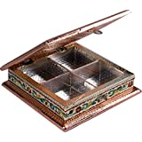"Impulse Wooden Meenakari Mukhwas Box/Dry Fruit Box/Decorative Item (10""x 10"" X 2.25"" Inches) - Multi"