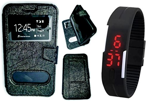 BKDT Marketing Leather finish Flip Cover Case Stand Diary Style for Samsung Galaxy S4 I9295 Active with Dislay Window and Stand - Black with Digital Watch  available at amazon for Rs.399