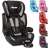 KIDUKU Autokindersitz Kindersitz Kinderautositz, Sitzschale, universal, zugelassen nach ECE R44/04, in 6 verschiedenen Farben, 9 kg - 36 kg 1-12 Jahre, Gruppe 1/2 / 3 (Schwarz/Grau)