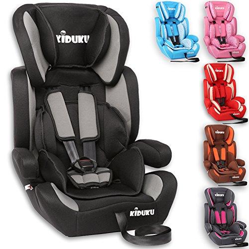 KIDUKU® Autokindersitz Kindersitz Kinderautositz, Sitzschale, universal, zugelassen nach ECE R44/04, in 6 verschiedenen Farben, 9 kg - 36 kg 1-12 Jahre, Gruppe 1/2 / 3 (Schwarz/Grau) (First Kindersitz Safety)