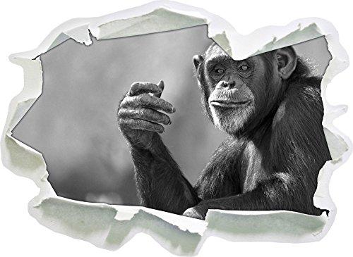 Aufmerksamer Schimpanse Kunst B&W, Papier 3D-Wandsticker Format: 92x67 cm Wanddekoration 3D-Wandaufkleber Wandtattoo