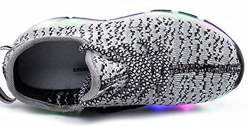 Enfants Fille Garçon Baskets Sneakers Lumineuses Clignotante Chaussures de Sport avec Colorés Homme Femme LED Chaussure de marche Chaussure à Roulettes Gris