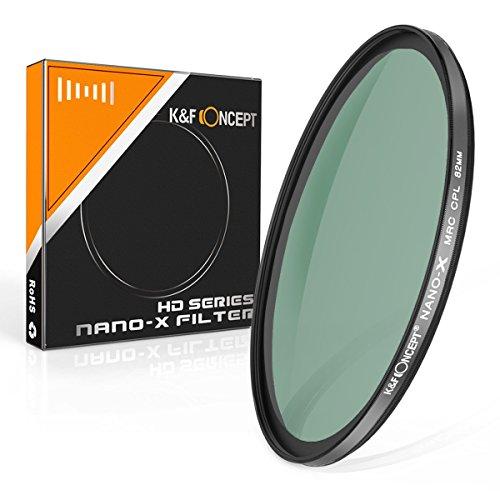 K&F Concept® Nano-X Serie CPL Filter 82mm HD Polfilter 82mm Zirkularer Polarisationsfilter 82mm mit MRC Mehrschichtvergütung Grünfolie