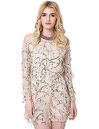 JOTHIN Damen Off Shoulder Pailletten Kleider Langarm Ballkleid Minikleid  Sommerkleid Schulterfrei Mesh Kleid e0bc2466e6