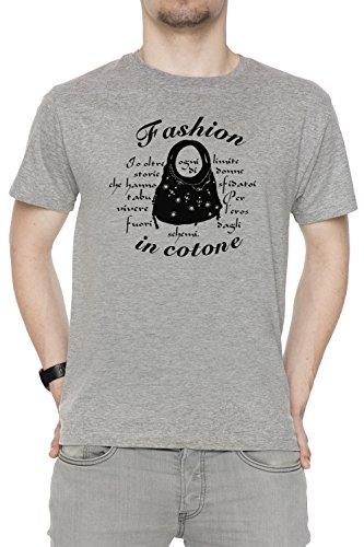 Fashion In Cotone Uomo T-shirt Grigio Cotone Girocollo Maniche Corte Grey Men's T-shirt