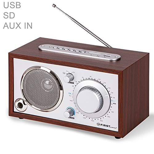 TZS First Austria - Retro Radio mit USB, AUX-IN für Handy, AM/FM, SD-Kartenleser Anschluss, Kristallklarer Klang, Bassreflexrohr, Nostalgieradio, Küchenradio Holz Gehäuse AM/FM