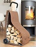 Feuerholzkorb mit Rädern Kaminholz-Wagen fahrbar Brennholz-Ständer Filz braun