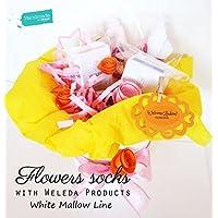 """Vaso di """"fiori"""" ( = tre paia di calzini)   PERSONALIZZAZIONI: Colori per Maschietti/Femminucce, aggiungi prodotti WELEDA Linea Malva Bianca, Accessori Premium, Nome, Bebé, Biglietto d'Auguri"""