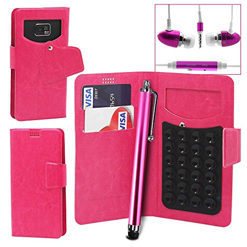 Pour LG G4 Beat / LG G4s Portefeuille et étui de protection à ventouses en cuir PU très fin de très grande qualité avec stylet et Écouteurs intra-auriculaires - Blanc/White - par Gadget Giant® Rose/Pink - avec écouteurs + Stylet