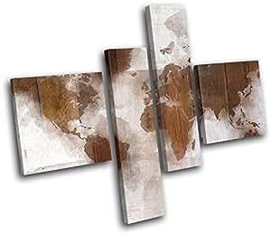 Bold Bloc Design - Abstract World Map Wood Maps Flags 120x100cm MULTI Leinwand Kunstdruck Box gerahmte Bild Wand hangen - handgefertigt In Grossbritannien - gerahmt und bereit zum Aufhangen - Canvas Art Print