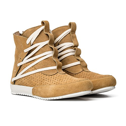 MCNDO Ninja Handgefertigte Schuhe für Männer Leder lässige hohe Stiefel und städtisch Mode Turnschuhe (Zip-sneaker-männer)