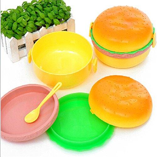 Lunch-Boxen Hamburger Bento Food Container Aufbewahrung Lebensmittelqualität Kunststoff mit Gabel Löffel Tragbare Reisen Picknick Schule Kühler Fall Abendessen für Männer Frauen Kinder