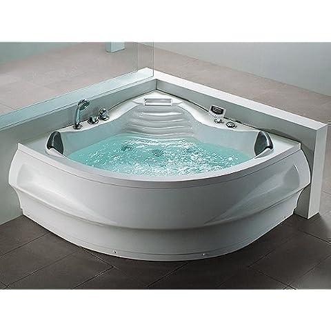 Whirlpool Bañera St. Tropez con 14 Boquilla De Masaje + Calefacción + Desinfección Del Ozono + Submarino Iluminación / Luz + Cascada + Radio - Baño de burbujas Hot Tub indoor / interior
