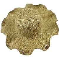 LBY Versión Coreana De Verano De La Sombrero De Hierba De Madera Sombrero De La Flor Ondulada Visera Sombrero Grande Playa Sombrero De Protección Solar Sombreros de Sol