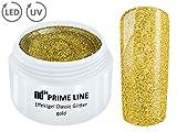 5ML - PRIME LINE - UV LED GEL GLITTER GOLD Glitzer Farbgel Effekt Color Nail Art Modellage Finish - MADE IN GERMANY