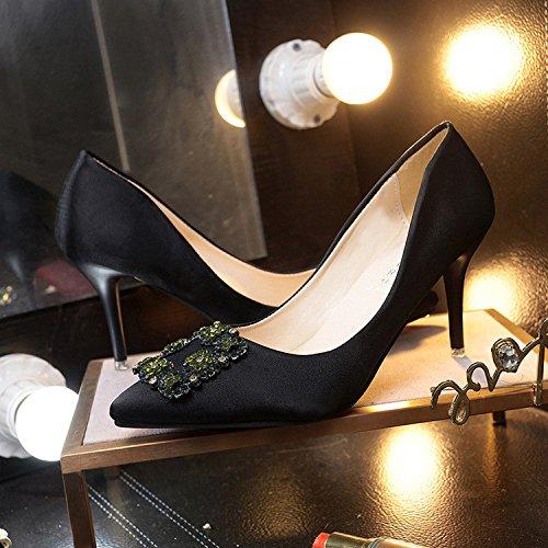 Fine con tacchi alti Korean strass scarpe unico fine con tacchi alti poco profonda appuntita della bocca black
