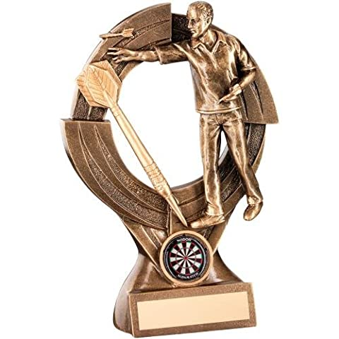 Darts Trophy in Bronze and Gold Resin - Featuring Dart