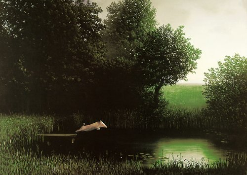 Laminated Diving Pig Michael Sowa Jumping Off Dock Kohler's Schwein Funny Print Poster 20x28 by Poster Revolution