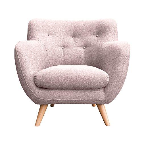 myHomery Sessel Adele gepolstert - Polsterstuhl für Esszimmer & Wohnzimmer - Lounge Sessel mit Armlehnen - Eleganter Retro Stuhl aus Stoff mit Holz Füßen - Rosa | Sessel