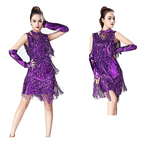 Zgsjbmh Frauen Dancewear Metallic Pailletten Fransen Quasten Ballsaal Samba Tango Latin Dance Kleid mit Handärmeln Halskette Wettbewerb Kostüme Fringe Flapper Kostüm Kleid (Farbe : Lila, Größe : - Lila Flapper Kostüm