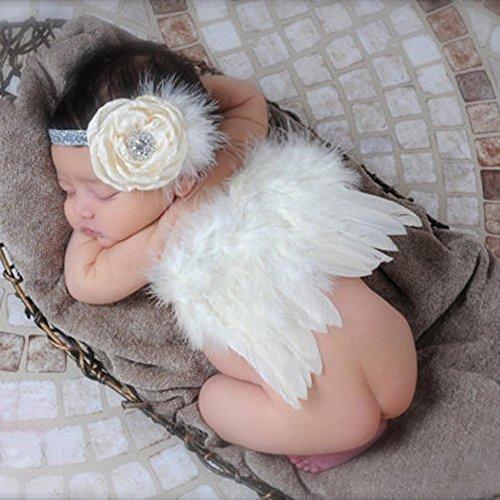 Everpert - Juego de alas de ángel para bebé y niña, diseño de Plumas
