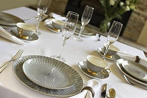 Touch Life 8-Pcs Ceramic Dinnerware Set dinner set with dinner plates, salad plates,dinner knife,dinner fork,tea Cup,Saucer,coffee Spoon,dinner Spoon,8 pcs