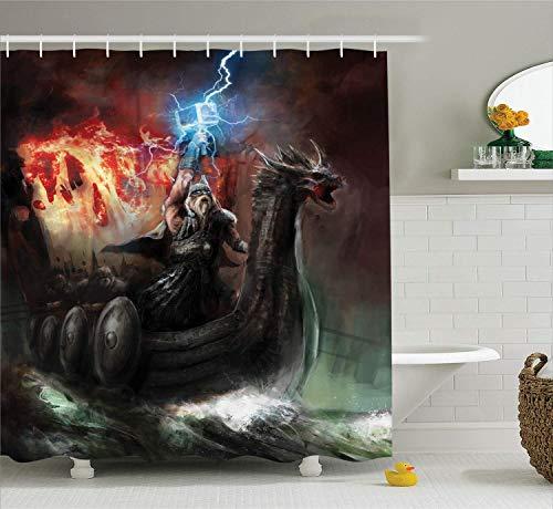 chvorhang Set Imaginäre Zorn der religiösen Figur Wikinger Royal Boat mit Dragon Head Storm Rays Bad-Accessoires Charcoal Red ()