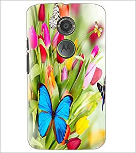 PrintDhaba Flowers and Butterfly D-2317 Back Case Cover for MOTOROLA MOTO X2 (Multi-Coloured)