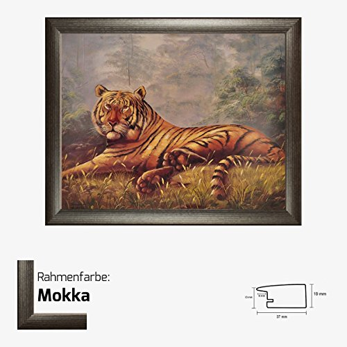 Kunstdruck Tiger im Dschungel Afrika Motiv Tier gemalt 40 x 50 cm mit MDF-Bilderrahmen Pisa & Acrylglas reflexfrei, viele Farben zur Auswahl, hier Mokka (Print Mokka-tiger)