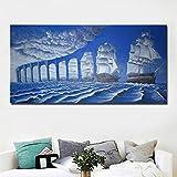NIMCG Arte de la Moda Abstracta surrealismo Moderno Pintura Puente Azul y Pintura del mar sobre Lienzo Pared Arte impresión Cartel decoración del hogar impresión (sin Marco) A1 60x120CM