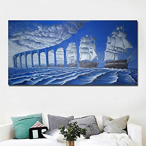 NIMCG Moda Astratta Arte Moderna surrealismo Dipinto Blu Ponte e Mare Dipinto su Tela Wall Art Stampa Poster Decorazioni per la casa Stampa (Senza Cornice) A1 60x120 cm
