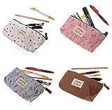 JZK® 4 x Porta penne portapenne scuola tela sacchetto astuccio per matite penne pennelli make up regalo studenti ragazzi scuola