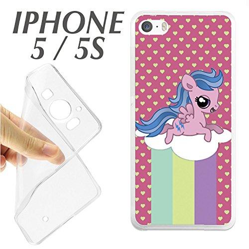 carcasaschulas CARCASA + Protector DE Cristal (OPCIONAL) iPhone 5 5S Pony PEQUEÑO Little ARCO IRIS NUBE Corazones ROSA DIBUJO J351 - CARCASA+Protector