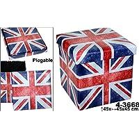 DonRegaloWeb - Puff plegable de polipiel decorado con la bandera unión Jack y con varios colores