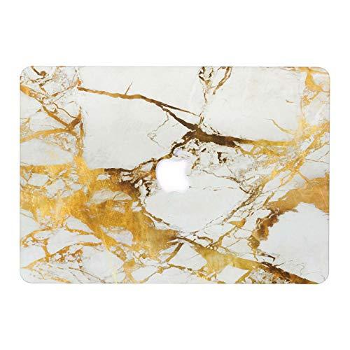 AQYLQ MacBook Schutzhülle/Hard Case Cover Laptop Hülle [Für MacBook Air 13 Zoll: A1369/A1466], Ultradünne Matt Plastik Hartschale Schutzhülle, DLBJ Weiß & Gold Marmor