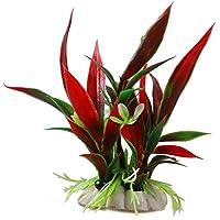 NiceButy Plantas de plástico decorativas para acuarios, color rojo