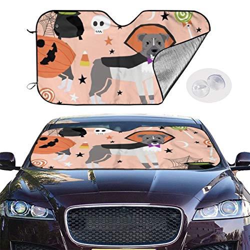 Dress rei Car Windshield Sun Shade Pitbull Halloween Costume Dog Vampire Ghost Mummy Peach Keep Your Vehicle Cool UV Sun Heat Reflector 51.2x27.5 Inchs