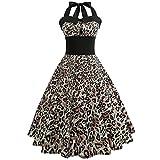 OverDose Damenkleider Neckholder Rockabilly 50er Vintage Retro Kleid Petticoat Faltenrock Abschlussball Kleider Festlich Cocktailkleider(A-Gelb,EU-40/CN-XL)