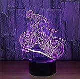 HYDYI Vélo De Montagne Rider 3D Night Light 7 Couleurs Changeantes LED Lampe De Table De Bureau 3D Illusion...