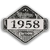 Distressed envejecido Vintage 1958Edition Classic Retro vinilo coche moto Cafe Racer Casco Adhesivo Insignia 85x 70mm