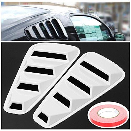 Preisvergleich Produktbild JenNiFer Pair White Side Window Louvers Scoop Cover Vent Für Ford Mustang 2005-2014