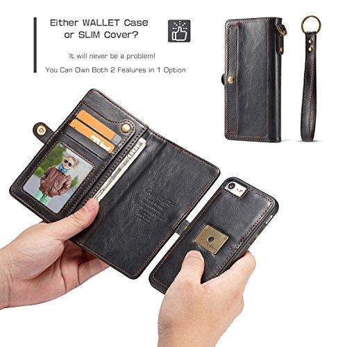 CaseMe Leder Telefon Fall mit Snap Wallet, abnehmbare Folio, versteckte Card Slots, magnetische Ring Halterung iPhone 7 Plus Brown Black