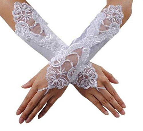 WeiMayDame Hochzeitshandschuhe Brauthandschuhe Frau Fingerlose Handschuhe Gaze Leichtes Garn Party Leistung Handschuhe Elegant Hochzeitsaccessoires Weiß -